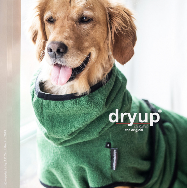 dryup cape Hundebademantel dark green